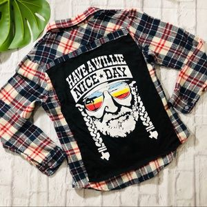 """HAVE A WILLIE NICE DAY"" HANDMADE PLAID FLANNEL"